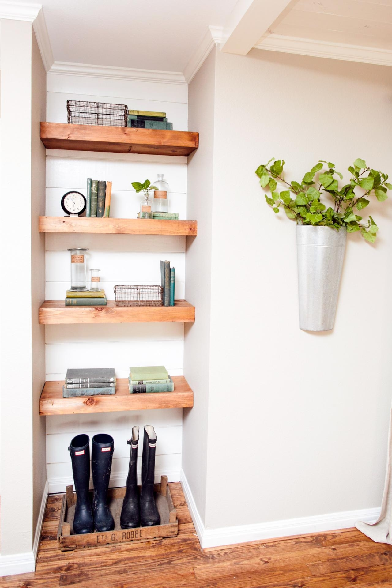 Decorating With Shiplap Ideas From Hgtvs Fixer Upper Inside Painted Shelving Units (#2 of 15)
