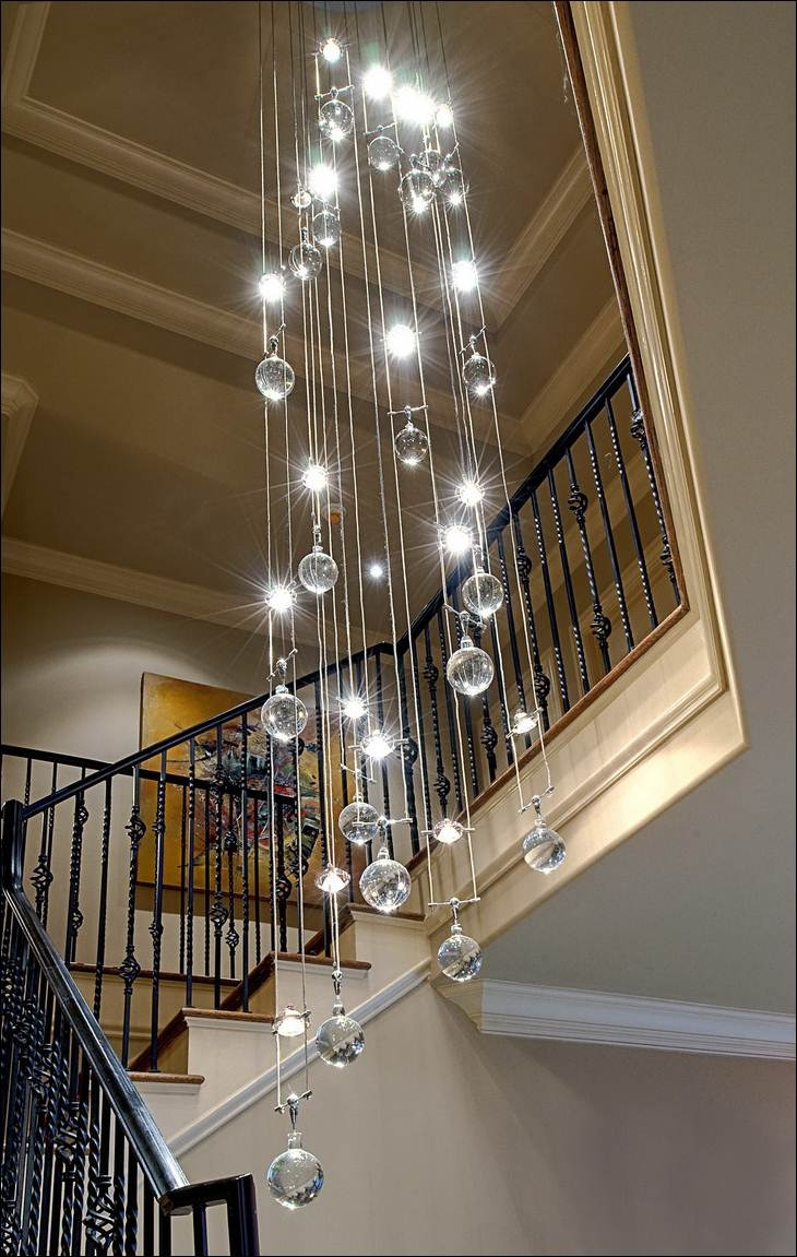 Decoration Contemporary Crystal Chandelier Decorating Area Around Pertaining To Stairway Chandelier (#5 of 12)