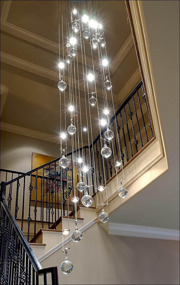 Decoration Contemporary Crystal Chandelier Decorating Area Around Regarding Stairway Chandeliers (#7 of 12)