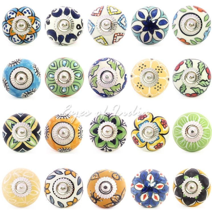 Decorative Knobs Drawer Cabinet Knobs Eyes Of India In Porcelain Cupboard Knobs (View 9 of 15)