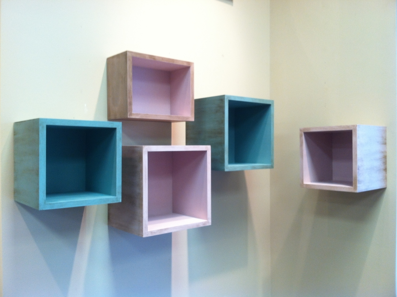 Delightful Floating Box Shelves With Birch Plywood And Painted For Painted Shelving Units (#3 of 15)