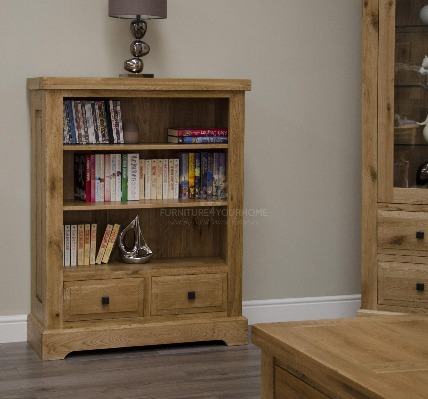 Deluxe Solid Oak 2 Drawer Low Bookcase Furniture4yourhome Throughout Solid Oak Bookcase (View 10 of 15)