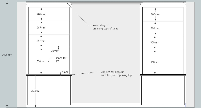 Design Drawings In 3d Peter Henderson Furniture Brighton Uk Regarding Alcove Wardrobes Designs (View 10 of 15)