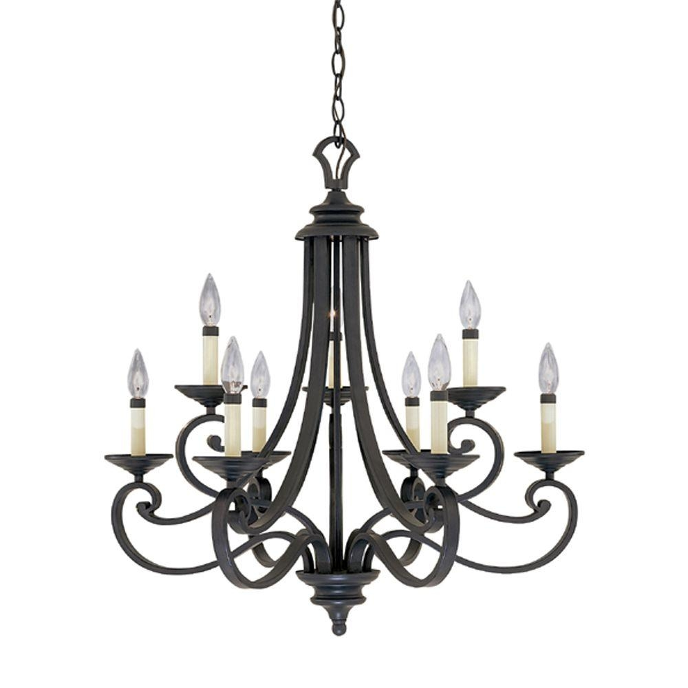 Designers Fountain Monte Carlo 9 Light Hanging Natural Iron With Black Chandelier (#5 of 12)