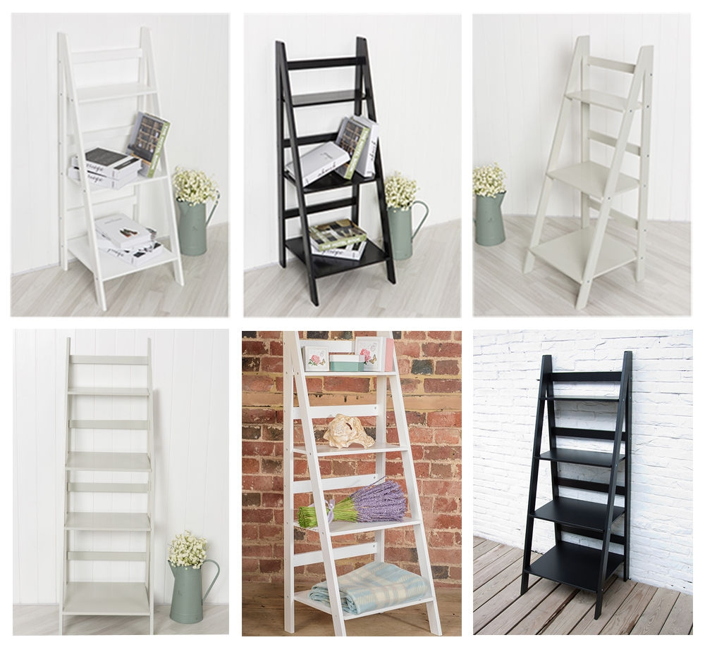 Details About Ladder Book Shelf Bookcase Stand Free Standing For Free Standing White Shelves (#6 of 15)