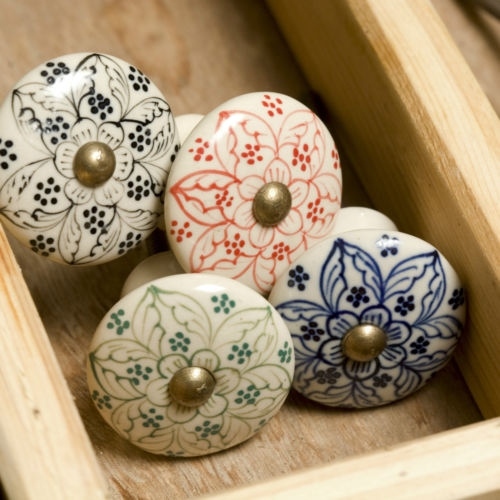 Details About White Cream Ceramic Knobs Drawer Pulls Cupboard Door Within Porcelain Cupboard Knobs (View 7 of 15)