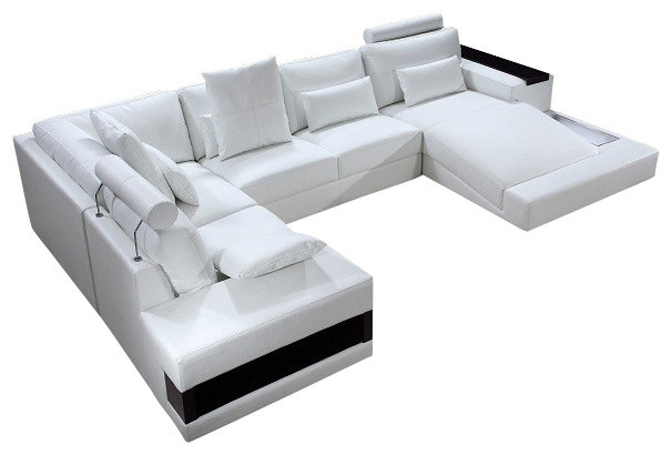 Diamond Modern White Leather U Shaped Sectional Sofa With Lights With Regard To Sofas With Lights (#5 of 15)