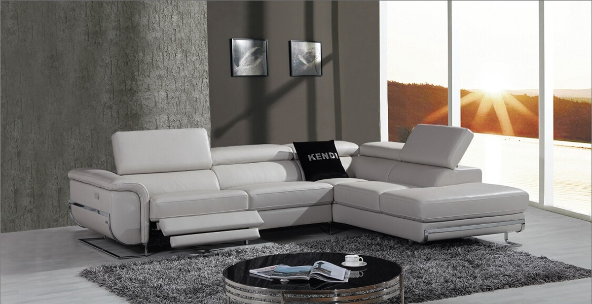 Divani Casa E9054 Modern Grey Leather Sectional Sofa W Recliner For Modern Reclining Leather Sofas (#4 of 15)