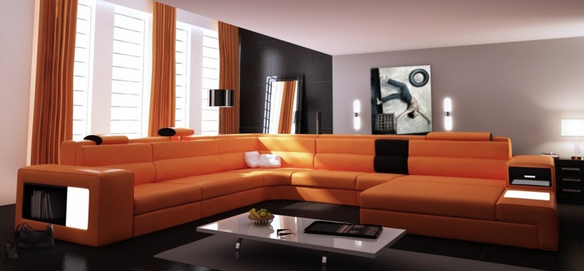Divani Casa Polaris Contemporary Leather Sectional Sofa With Lights Regarding Sofas With Lights (#7 of 15)