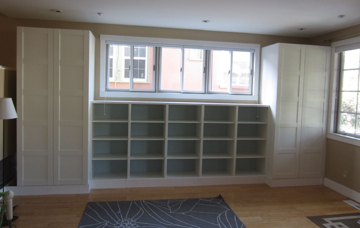 Diy Built Ins Using Ikea Besta Shelves And Pax Wardrobes Throughout Built In Cupboard Shelving (#10 of 15)