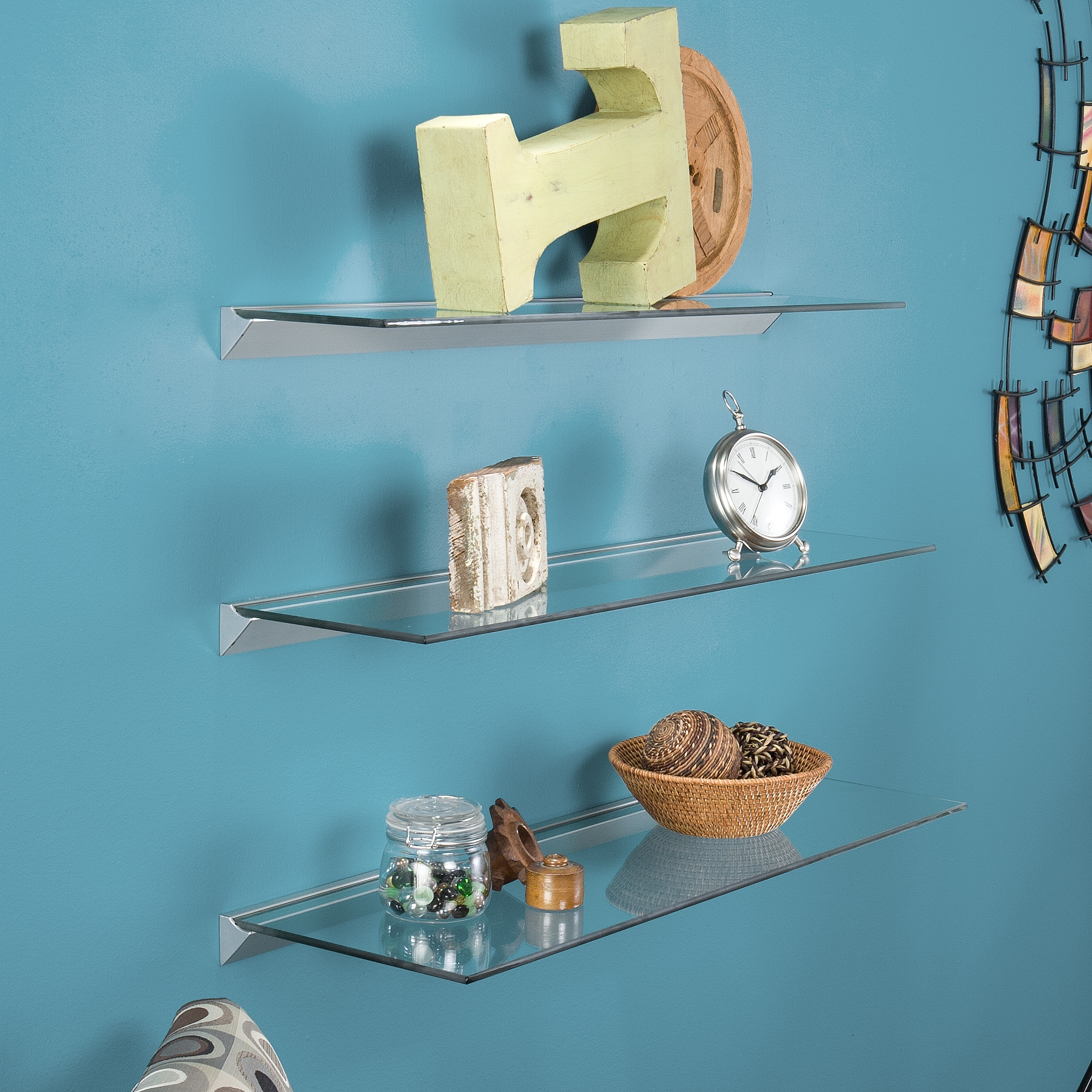 Popular Photo of Clear Glass Floating Shelves