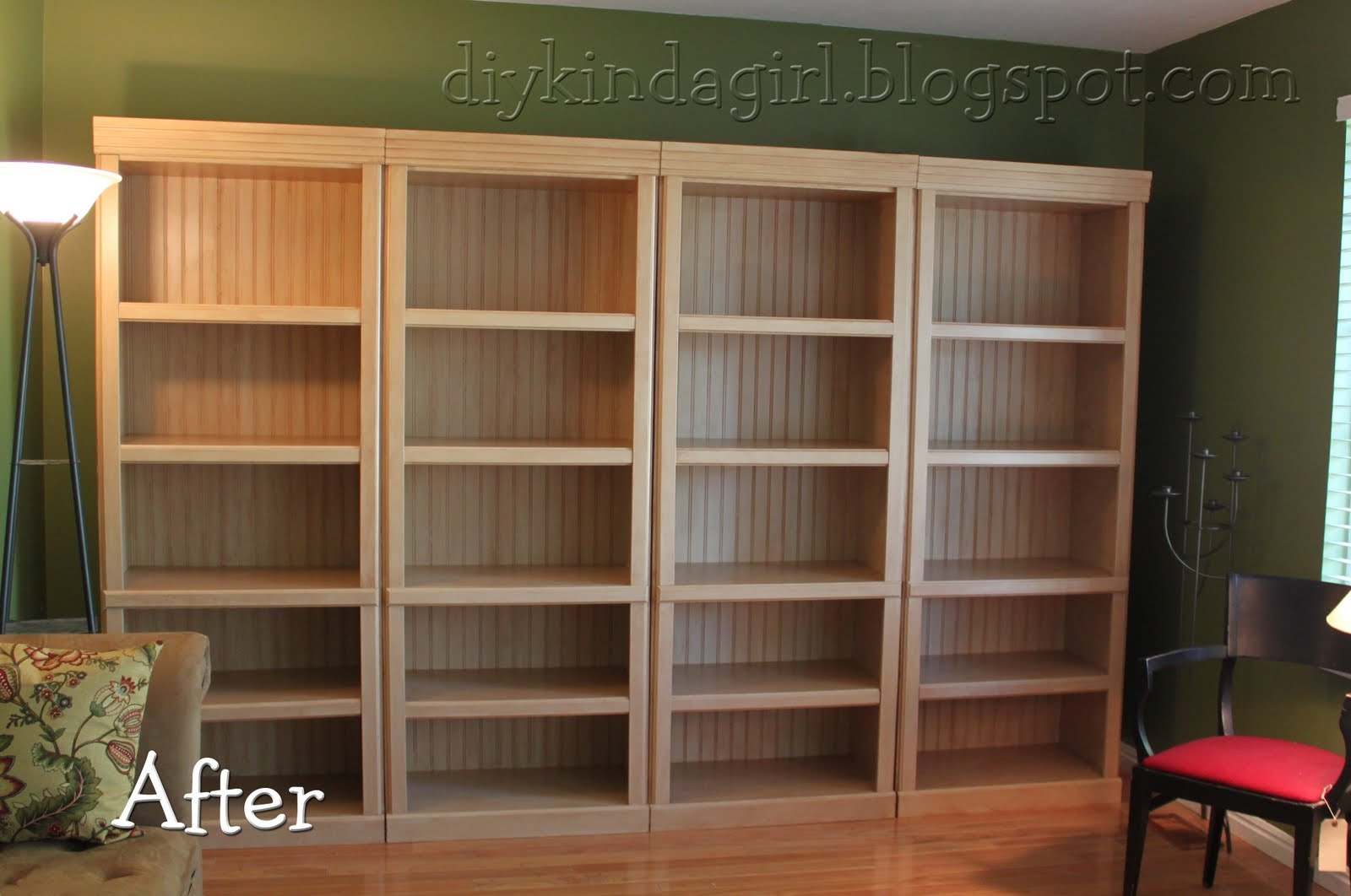 Diy Kinda Girl How To Paint Laminate Within Painted Wood Bookcase (#4 of 15)
