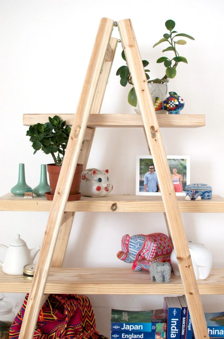 Inspiration about Diy Ladder Shelves A Pair A Spare With Regard To Ladder Shelves (#3 of 15)