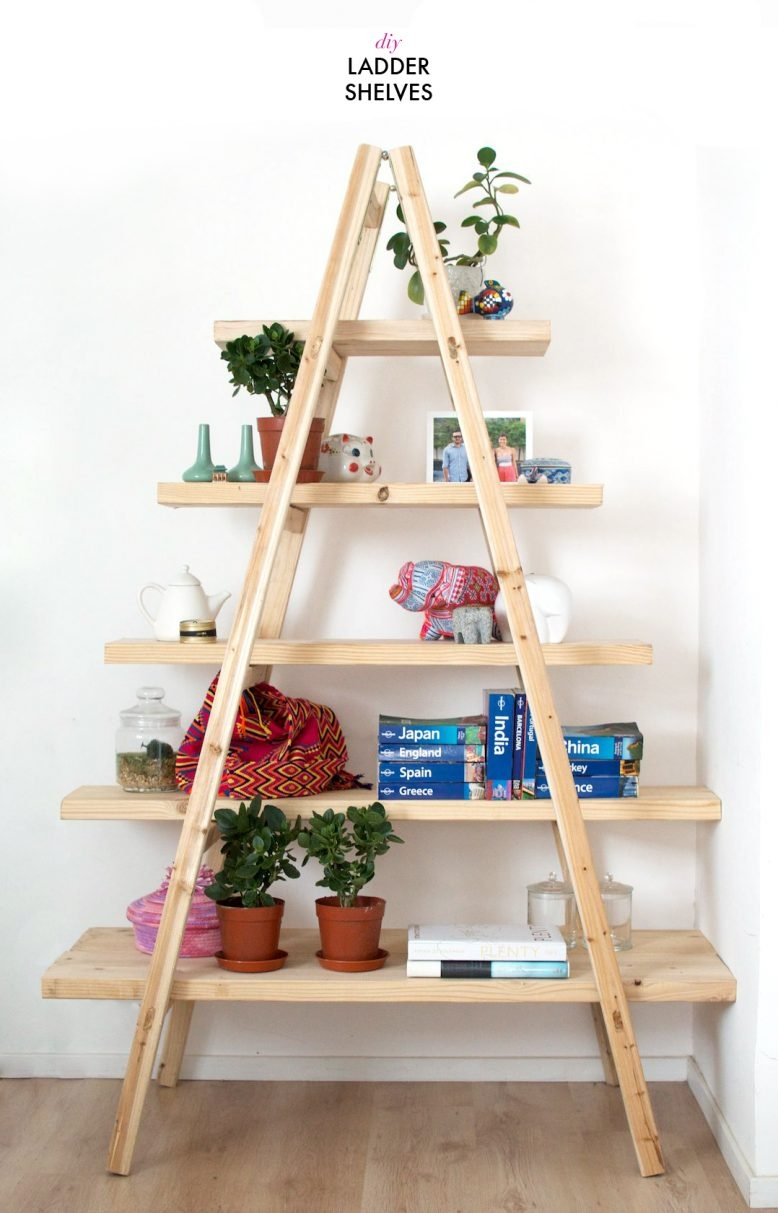 Diy Ladder Shelves A Pair A Spare Within Ladder Shelves (#9 of 15)