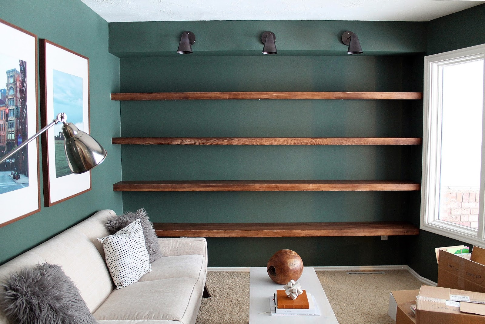 Diy Solid Wood Wall To Wall Shelves Chris Loves Julia Throughout Whole Wall Shelving (#4 of 15)
