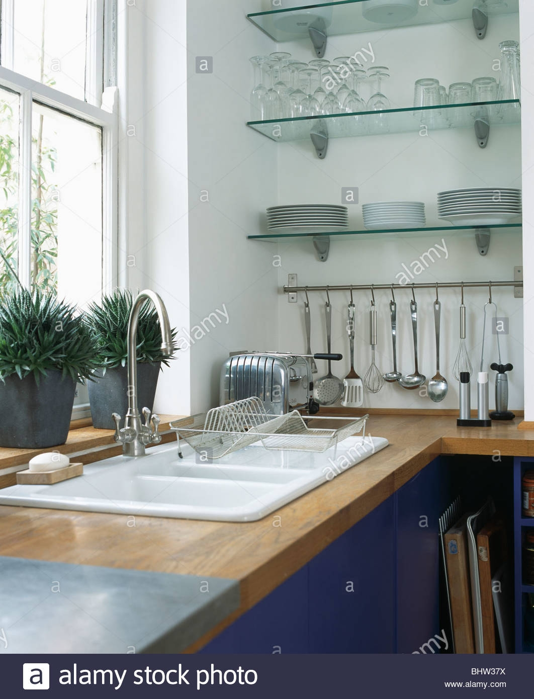 Popular Photo of Glass Kitchen Shelves