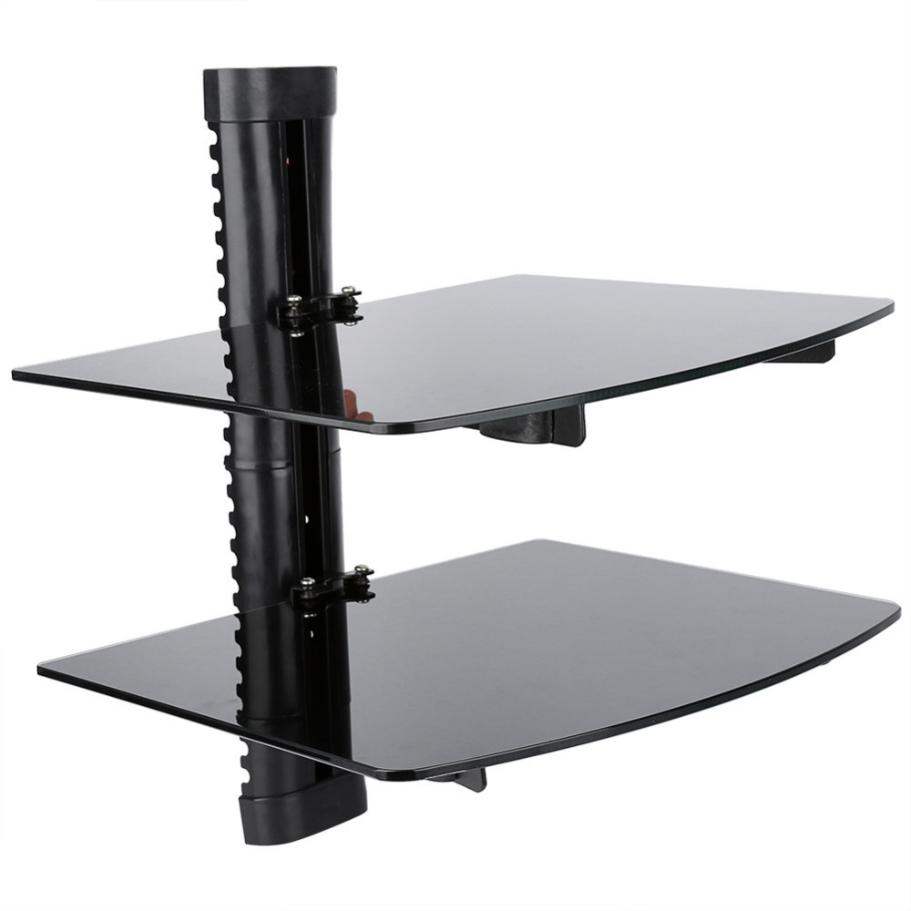 Doubletriple Wall Mountable Shelf Floating Black Glass Bracket With Floating Black Glass Shelf (#5 of 12)