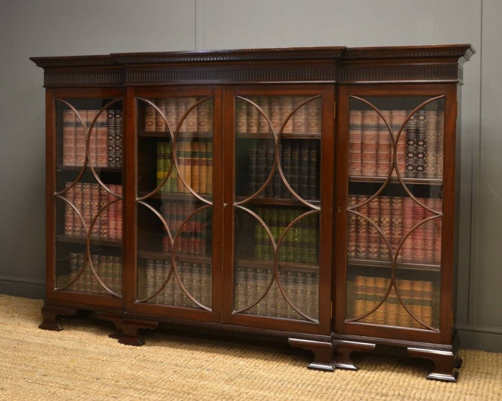 Edwardian Mahogany Break Fronted Glazed Antique Bookcase 246983 With Glazed Bookcases (#6 of 15)