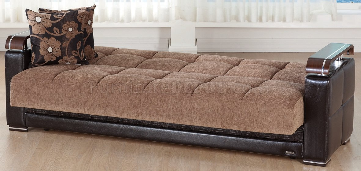 Ekol Yuky Convertible Sofa In Brown Fabricleather Sunset Intended For Sofa Convertibles (#6 of 15)