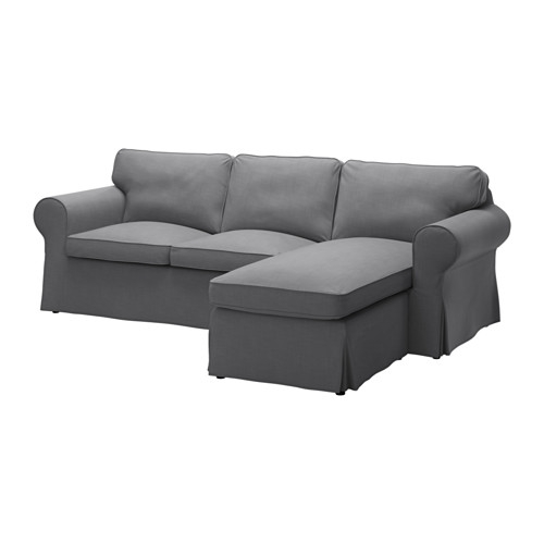 Ektorp Two Seat Sofa And Chaise Longue Nordvalla Dark Grey Ikea Intended For IKEA Chaise Lounge Sofa (View 8 of 15)