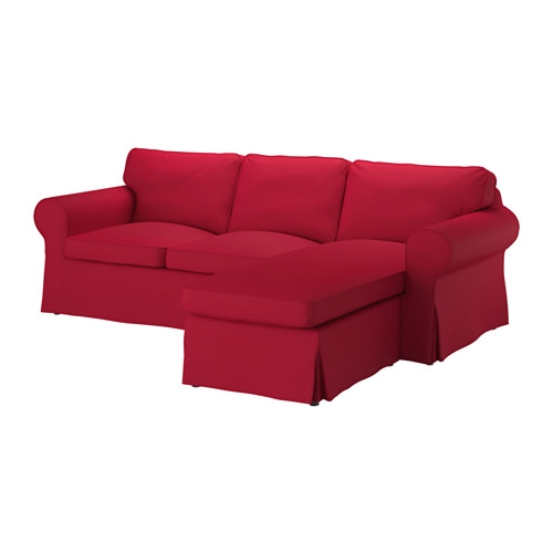 Ektorp Two Seat Sofa And Chaise Longue Nordvalla Red Ikea Pertaining To IKEA Chaise Lounge Sofa (View 9 of 15)
