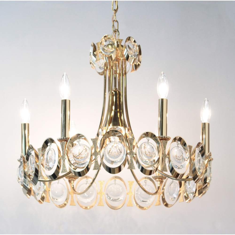 Elegant Brass And Crystal Chandelier Palwa Lobel Modern Nyc Pertaining To Brass And Crystal Chandelier (#8 of 12)