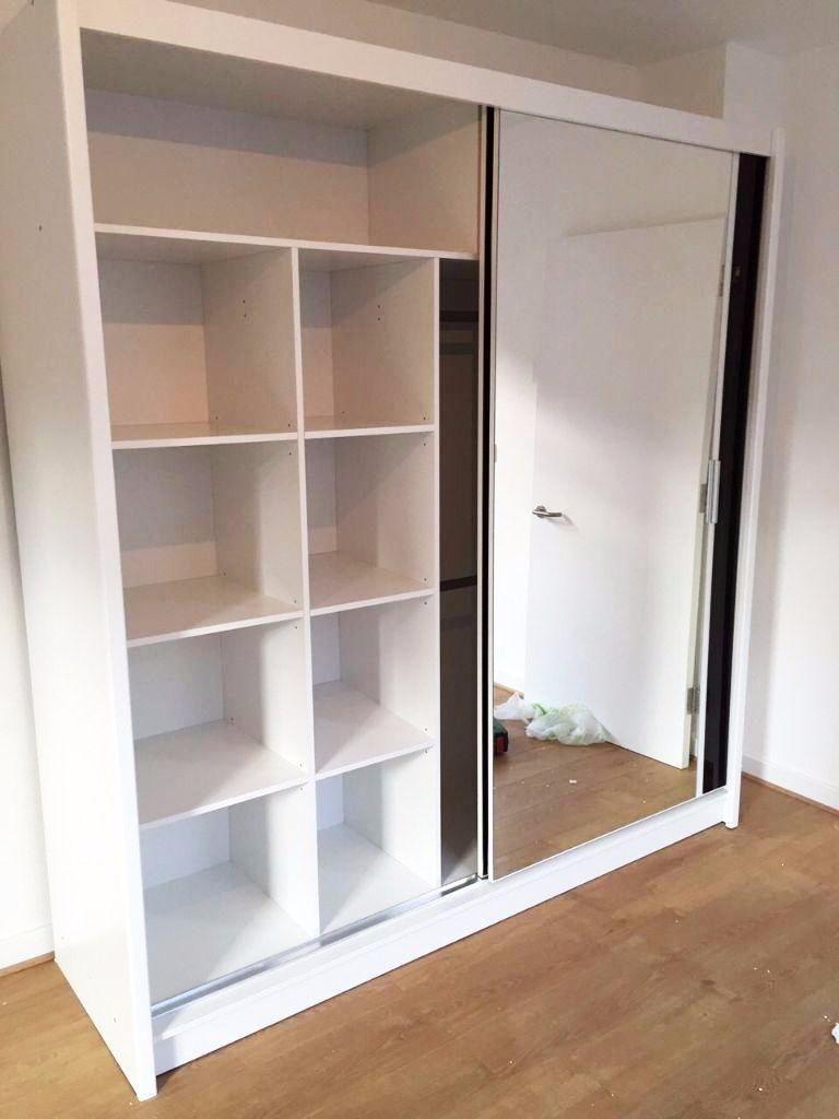 Elegant Double Sliding Mirror Wardrobe White 2 Door Slider With With Double Rail Wardrobe (View 4 of 15)