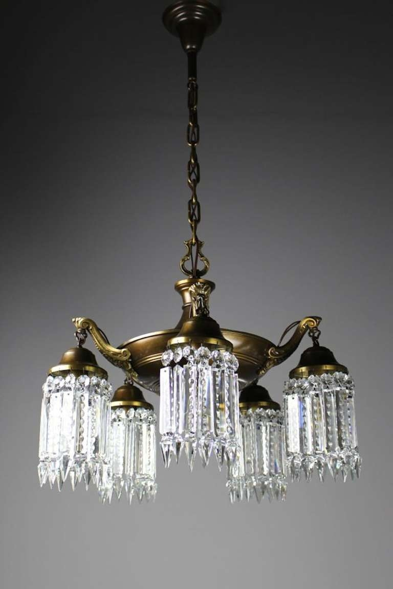 Elegant Edwardian Crystal Chandelier For Sale At 1stdibs Inside Edwardian Chandeliers (#9 of 12)