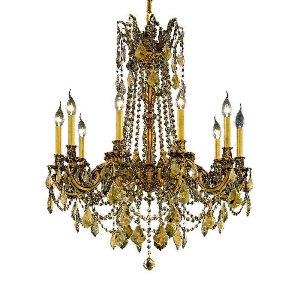 Elegant Lighting 10 Light French Gold Chandelier With Teak Smoky With Regard To French Gold Chandelier (#3 of 12)