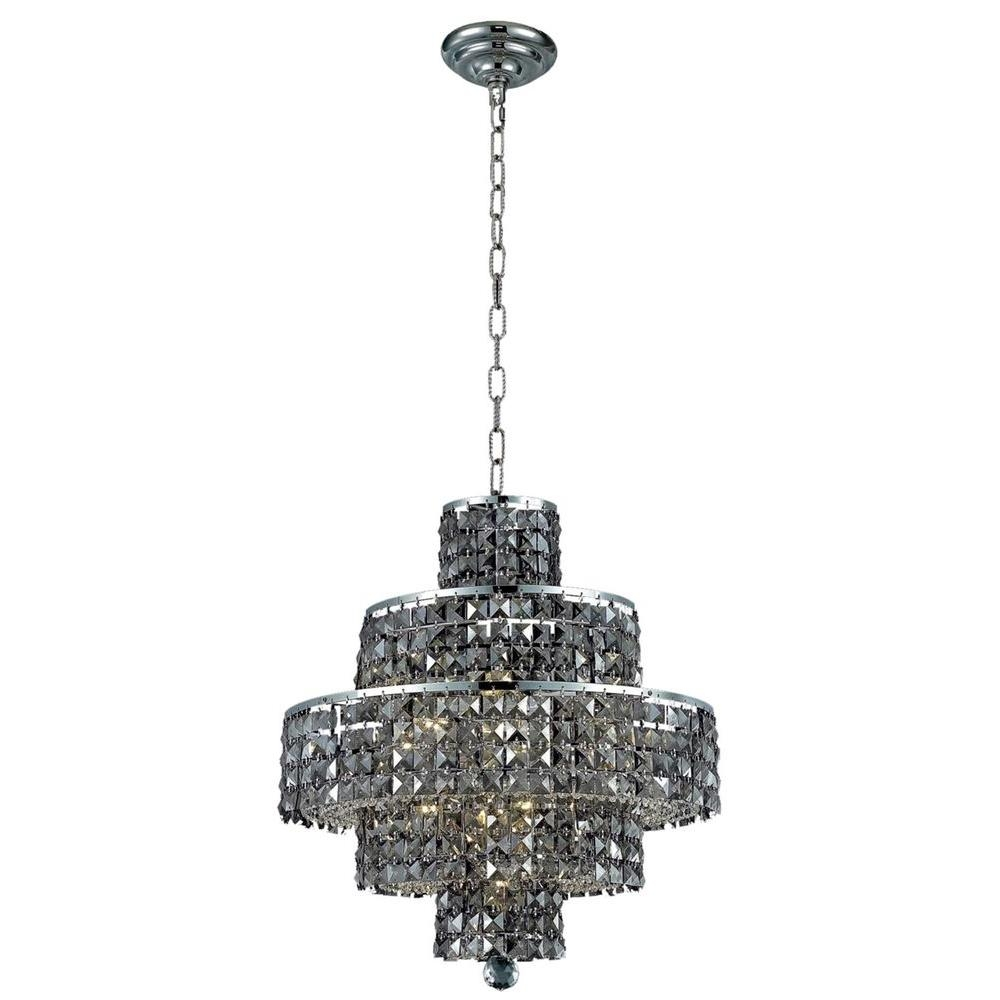 Elegant Lighting 13 Light Chrome Chandelier With Silver Shade Grey Pertaining To Grey Crystal Chandelier (#3 of 12)