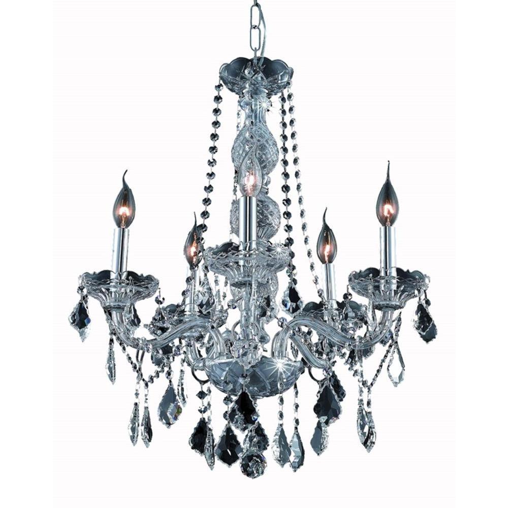 Elegant Lighting 5 Light Silver Chandelier With Grey Crystal Inside Grey Crystal Chandelier (#4 of 12)