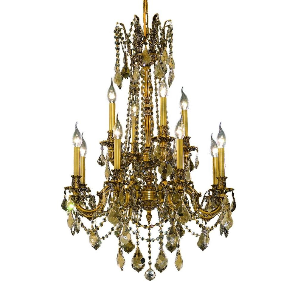 Elegant Lighting Olivia 5 Light French Gold Chandelier With Clear Regarding French Gold Chandelier (#6 of 12)
