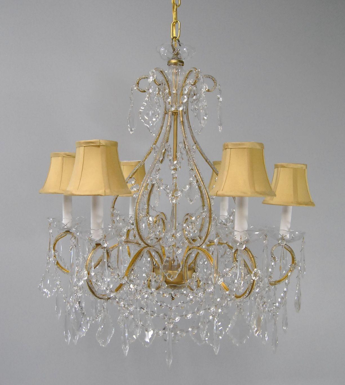 Elegant Six Light Brass Crystal Chandelier Light Fixture With Brass And Crystal Chandelier (#9 of 12)