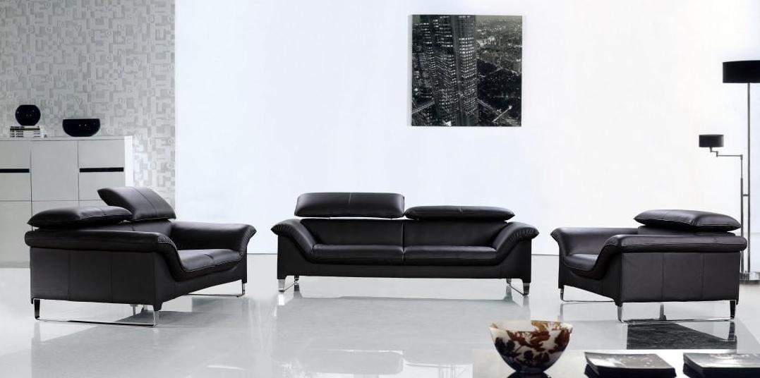 Elite Contemporary Black Leather Sofa Set Anaheim California V Elite For Contemporary Black Leather Sofas (View 15 of 15)