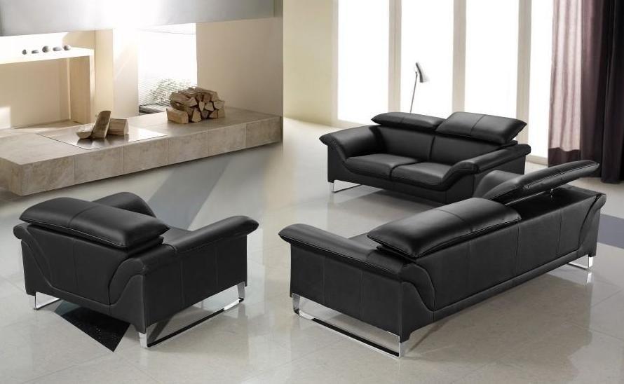 Elite Contemporary Black Leather Sofa Set Anaheim California V Elite Pertaining To Contemporary Black Leather Sofas (View 3 of 15)