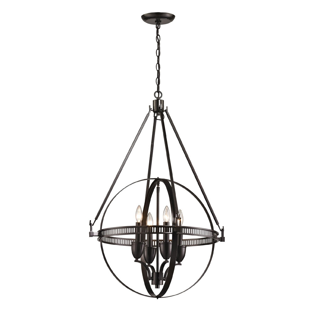 Elk 10392 4 Hemispheres Modern Oil Rubbed Bronze Mini Chandelier For Bronze Modern Chandelier (#7 of 12)
