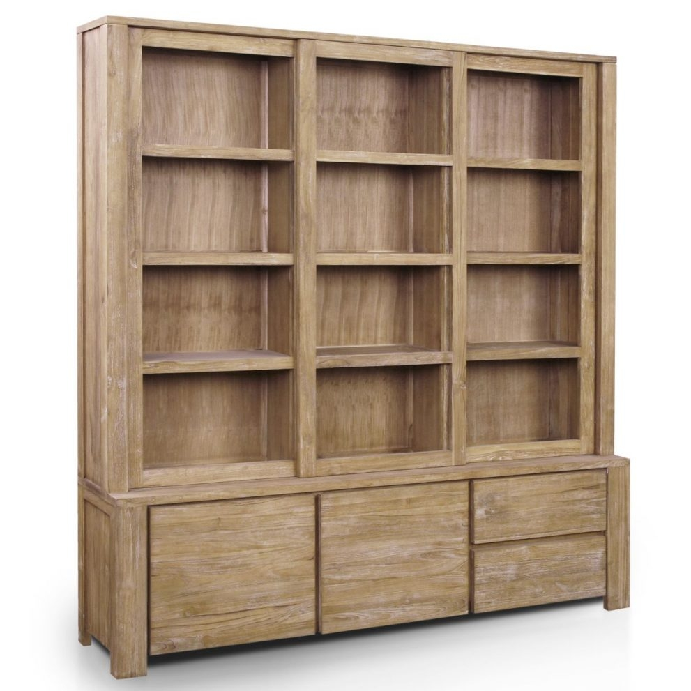 Wood Bookcases With Doors ~ Photo of large solid wood bookcase