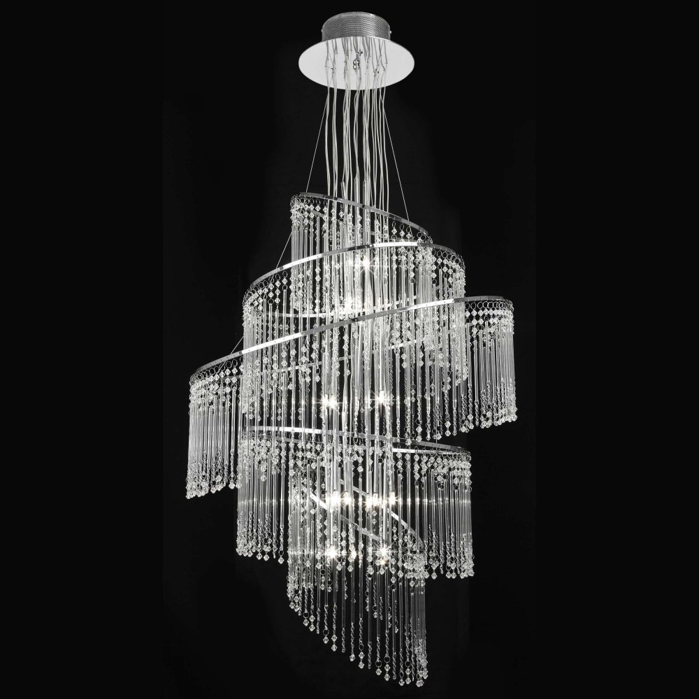 Endon Camille 24ch Camille Chandelier Endon 24 Light Chrome Pendant For Chrome And Glass Chandelier (#8 of 12)