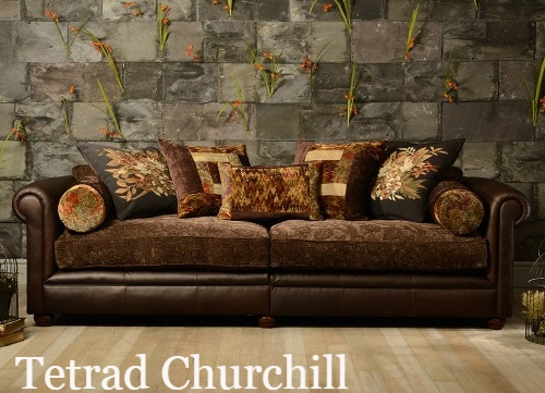 Englishmans Castle Leather Fabric Mix Sofas Leather And Fabric With Tweed Fabric Sofas (#5 of 15)