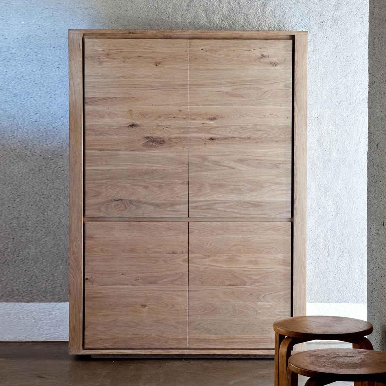 Ethnicraft Shadow Oak Storage Cupboard 4 Doors Solid Wood Regarding Oak Cupboards (#3 of 12)