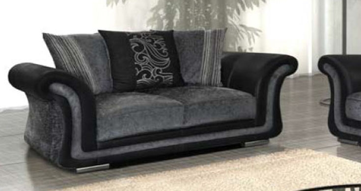 Fabric 2 Seater Sofa Black Grey Inside Black 2 Seater Sofas (#6 of 15)