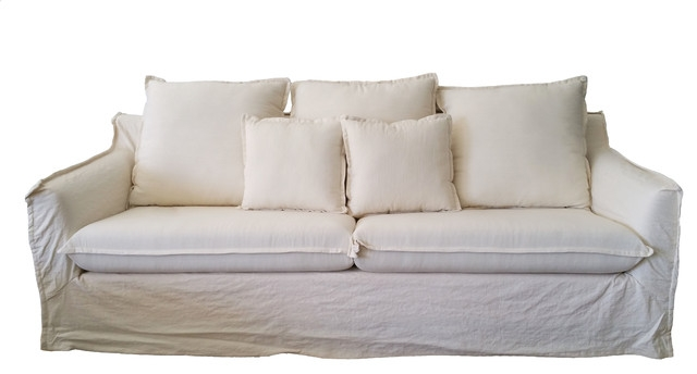 Fabric Sofa White Linen Beach Style Sofas Hong Design Pertaining To White Fabric Sofas (#7 of 15)