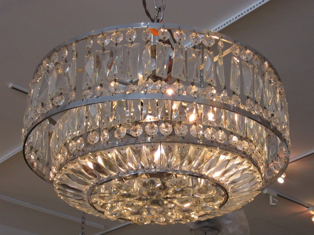 Faceted Crystal Art Deco Chandelier At 1stdibs Within Art Deco Chandelier (#9 of 12)