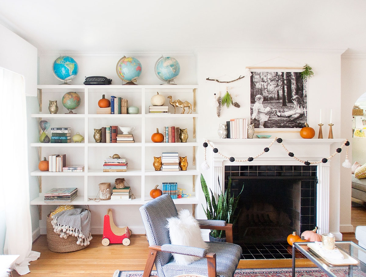 Fall Decorating Ideas In Black White With A Bit Of Orange In Whole Wall Shelving (#5 of 15)