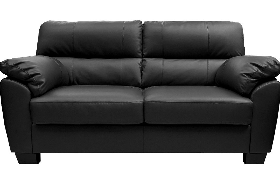 Fancy Black Leather Sofa 2 Seater Buy Cheap Black Faux Leather For Black 2 Seater Sofas (#7 of 15)