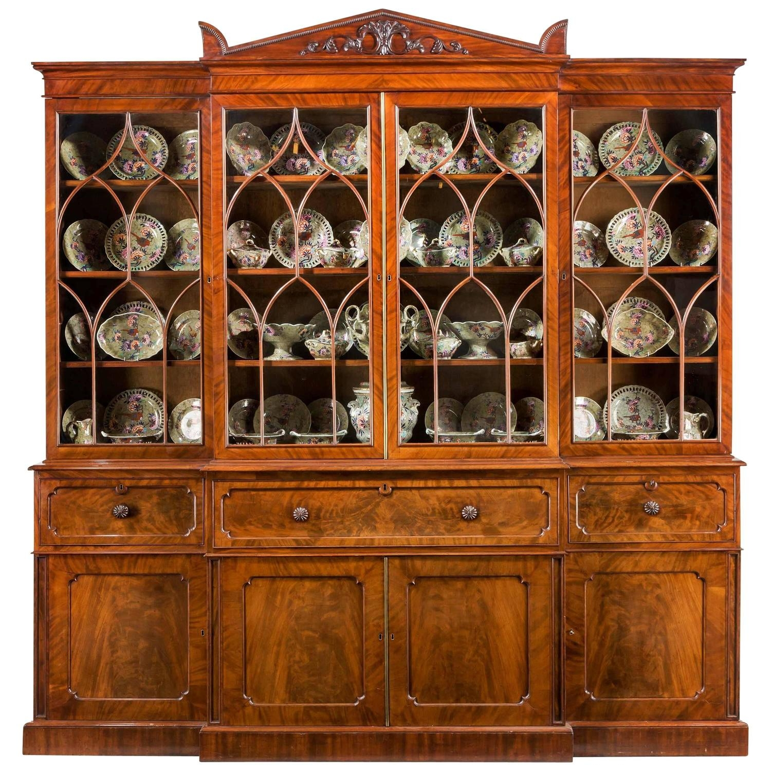 Faux Bamboo China Cabinet Hutch Breakfront Hollywood Regency Mid Intended For Modern Breakfront (#3 of 15)