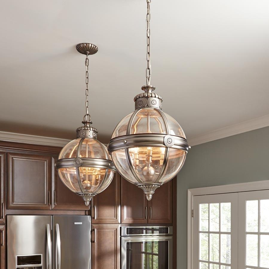 Feiss Adams 4 Light Globe Lantern Chandelier Antique Nickel Adams For Chandelier Globe (#8 of 12)