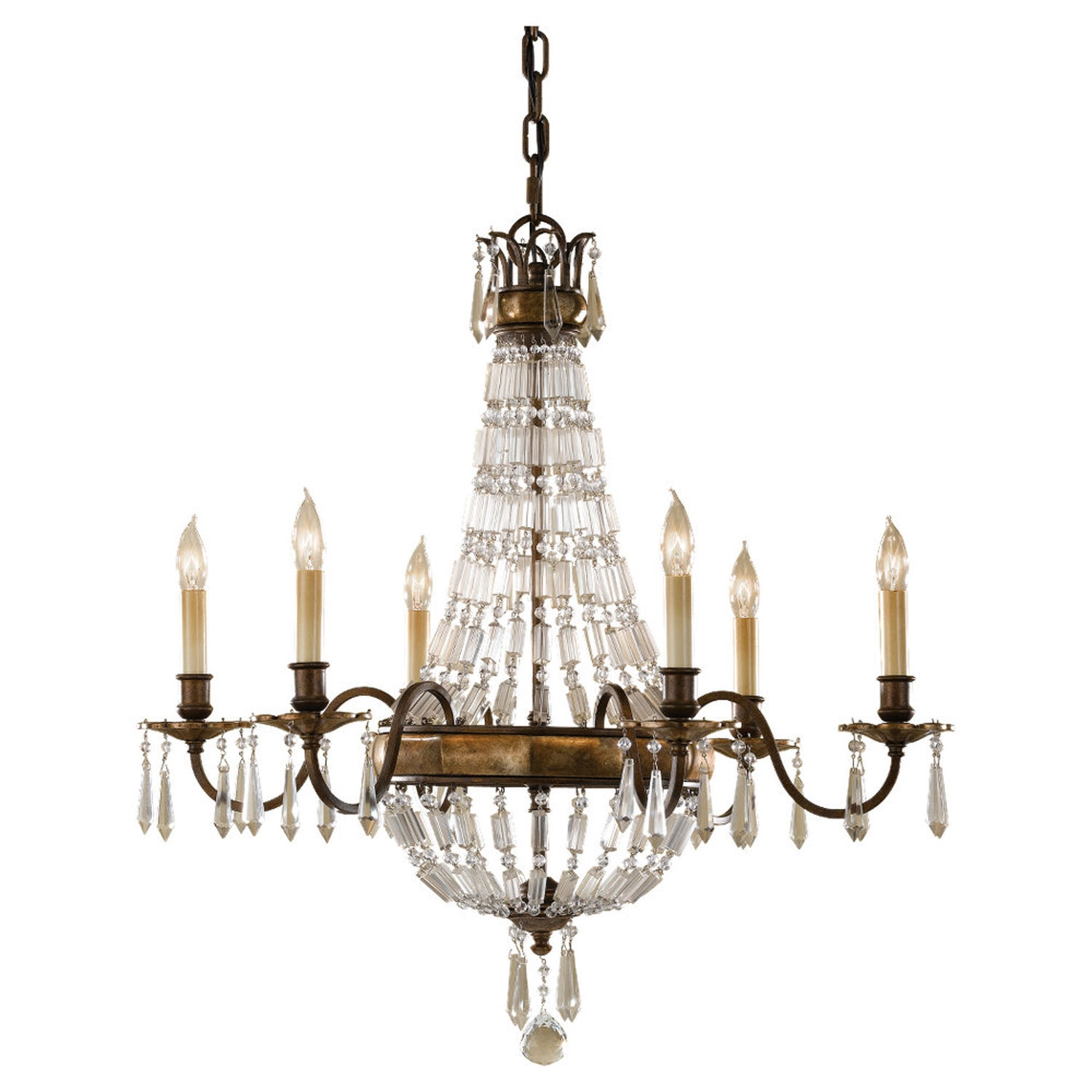 Feiss Bellini Oxidized Bronzebritish Bronze Crystal Chandelier On Pertaining To Bronze And Crystal Chandeliers (#9 of 12)