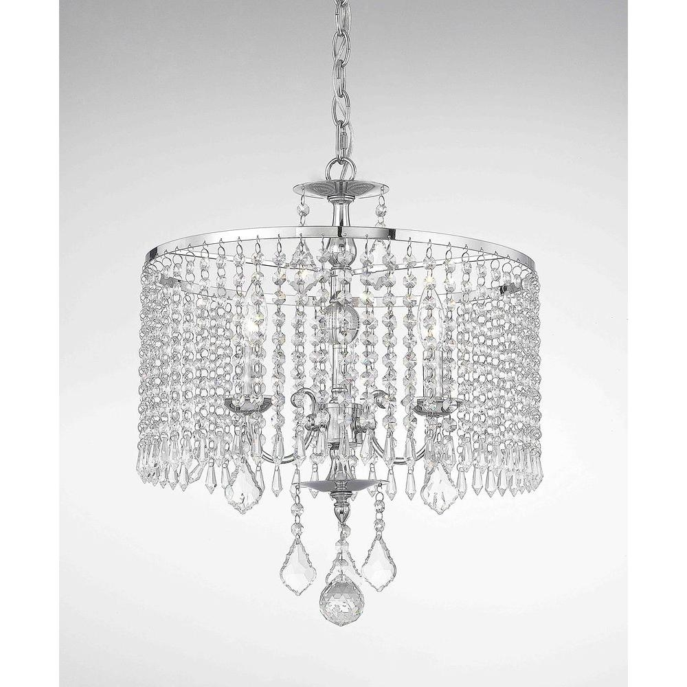 Fifth And Main Lighting 3 Light Polished Chrome Mini Chandelier In Chandelier Chrome (#9 of 12)