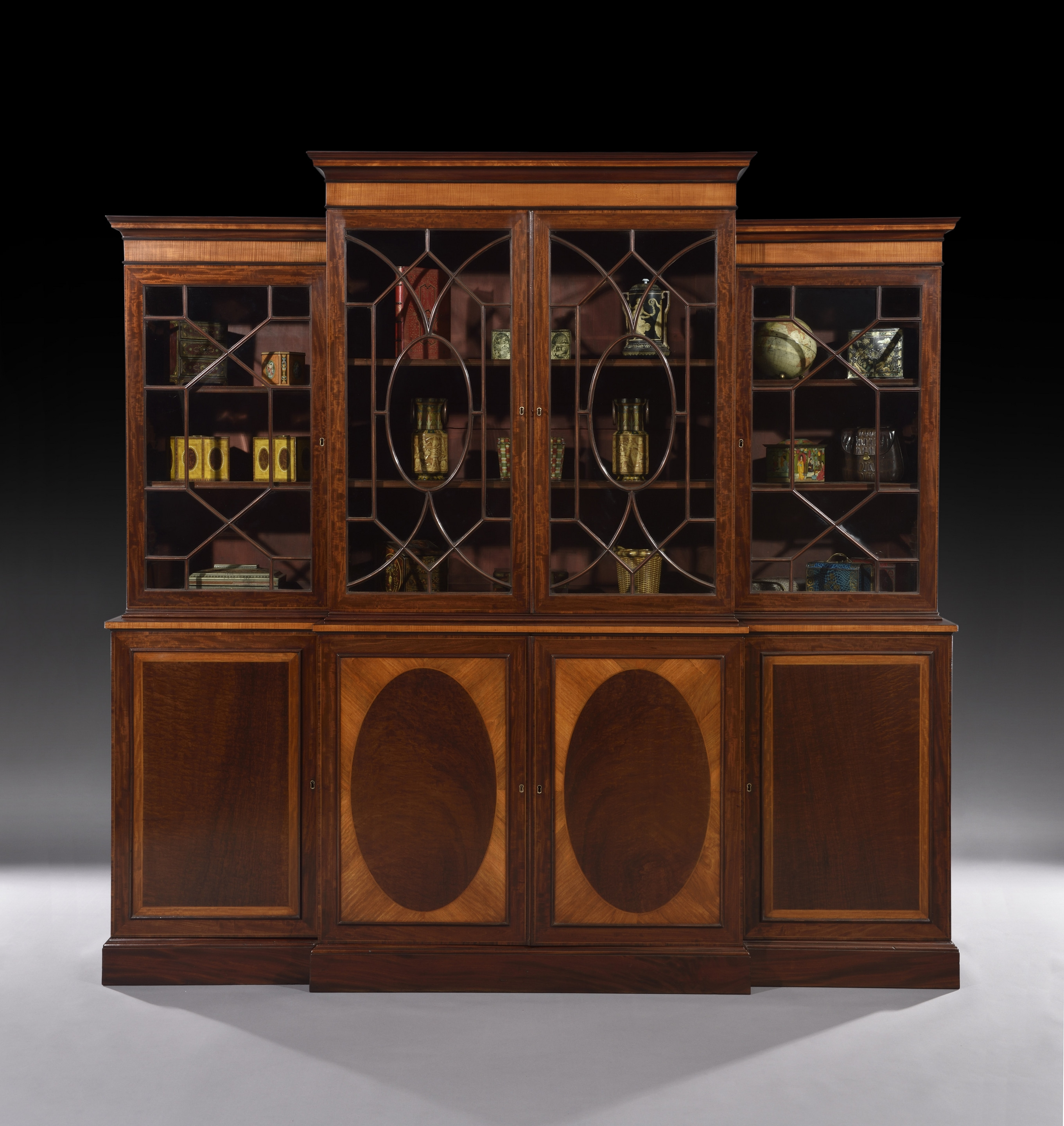 Fine Early 19th Century Mahogany Inlaid Breakfront Bookcase C Throughout Break Front Bookcase (#9 of 15)